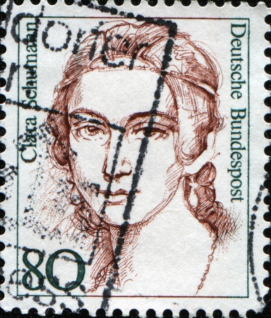 FEDERAL REPUBLIC OF GERMANY - CIRCA 1986:  A stamp printed in the Federal Republic of Germany shows  Clara Schumann German musician and composer, circa  1986