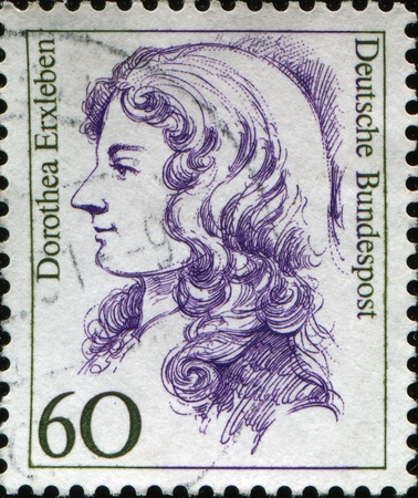 FEDERAL REPUBLIC OF GERMANY - CIRCA :  A stamp printed in the Federal Republic of Germany shows Dorothea Erxlben first female medical doctor in Germany, circa