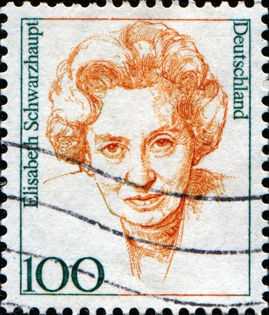 FEDERAL REPUBLIC OF GERMANY - CIRCA 1997:  A stamp printed in the Federal Republic of Germany shows  Elisabeth Schwarzhaupt, politician, circa  1997