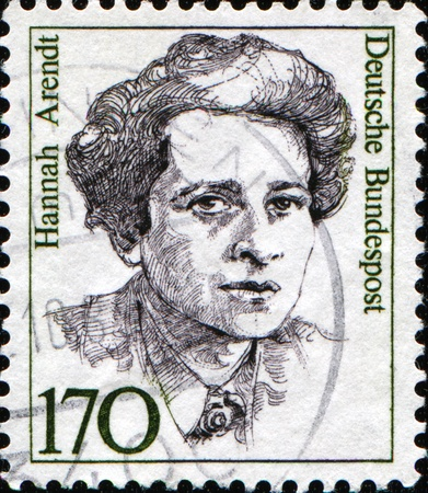 ddr: FEDERAL REPUBLIC OF GERMANY - CIRCA 1988:  A stamp printed in the Federal Republic of Germany shows Hannah Arendt, German American political theorist, circa  1988