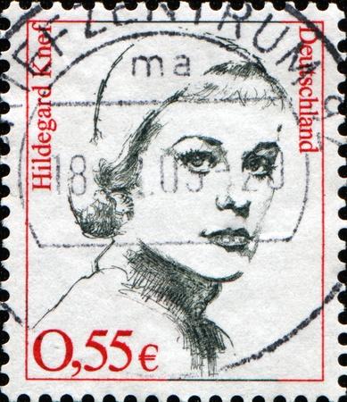 FEDERAL REPUBLIC OF GERMANY - CIRCA 2002:  A stamp printed in the Federal Republic of Germany shows  Hildegard Knef, circa  2002