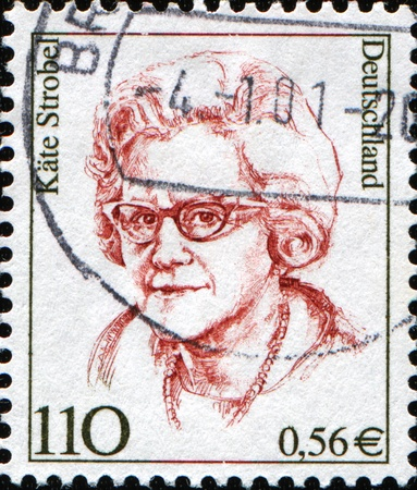 FEDERAL REPUBLIC OF GERMANY - CIRCA 2000:  A stamp printed in the Federal Republic of Germany shows Kate Strobel, German politician of the Social Democratic Party of Germany, circa  2000