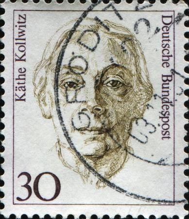 printmaker: FEDERAL REPUBLIC OF GERMANY - CIRCA 1991:  A stamp printed in the Federal Republic of Germany shows  Kathe Kollwitz, German painter, printmaker, and sculptor, circa  1991