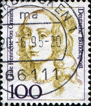 orange nassau: FEDERAL REPUBLIC OF GERMANY - CIRCA 1994:  A stamp printed in the Federal Republic of Germany shows  Lise Henriette von Oranien, Countess of Nassau, granddaughter of William I, Prince of Orange,