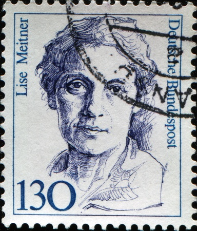 FEDERAL REPUBLIC OF GERMANY - CIRCA 1988:  A stamp printed in the Federal Republic of Germany shows Lise Meitner, Austrian-born, later Swedish, physicist who worked on radioactivity and nuclear physics, circa  1988