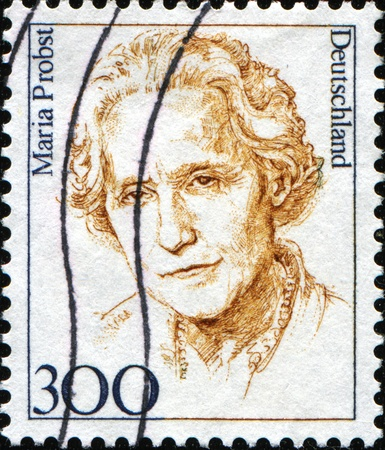 FEDERAL REPUBLIC OF GERMANY - CIRCA 1997:  A stamp printed in the Federal Republic of Germany shows Maria Probst, German politician of the Christian Social Union of Bavaria, circa  1997