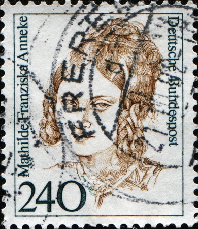 FEDERAL REPUBLIC OF GERMANY - CIRCA 1988:  A stamp printed in the Federal Republic of Germany shows Mathilde Franziska Anneke, German feminist, socialist, and newspaper editor, owner, and reporter, circa 1988