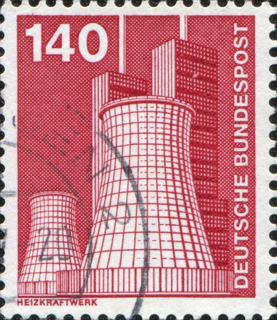 GERMANY - CIRCA 1975: A stamps printed in Germany shows Thermal power plant Lichterfelde cooling tower from the 'Industrie und Technik' series, circa 1975 Stock Photo - 11262489