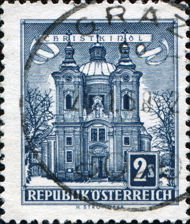 christkind: AUSTRIA - CIRCA 1957: A stamp printed in Austria shows Christkindl Church, circa 1957