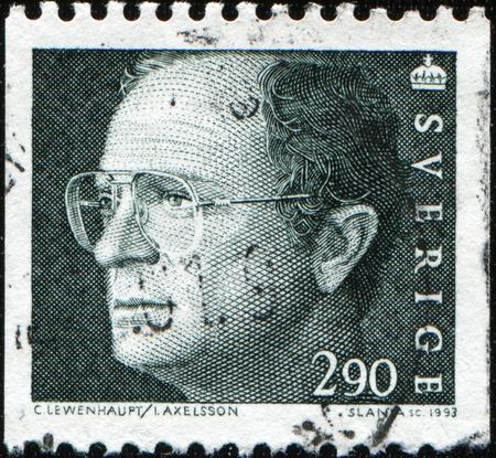 SWEDEN - CIRCA 1991: A stamp printed in Sweden shows king Carl XVI Gustaf , circa 1991 Editorial