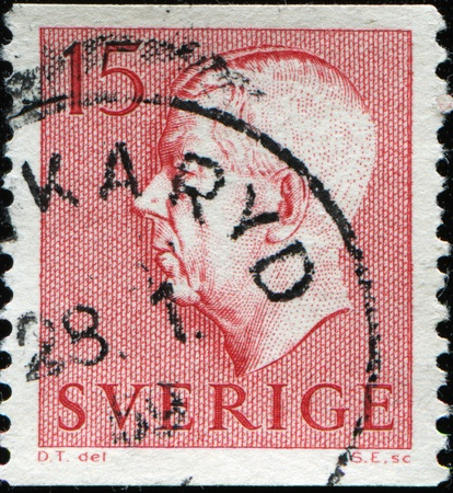 gustaf: SWEDEN - CIRCA 1961: A stamp printed in Sweden, shows Gustaf VI Adolf, circa 1961