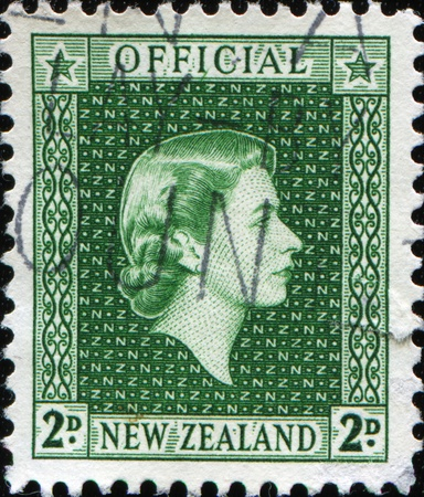 NEW ZEALAND - CIRCA 1954: A stamp printed in New Zealand shows Queen Elizabeth II, circa 1954