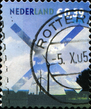 NETHERLANDS - CIRCA 2005: A stamp printed in Netherlands  shows windmill, circa 2005  photo