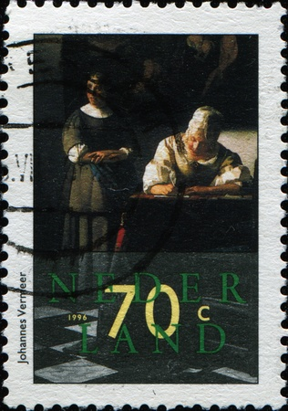 johannes: NETHERLANDS - CIRCA 1996: A stamp printed in Netherlands shows paint Johannes Vermeer