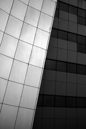 black and white photo of modern building