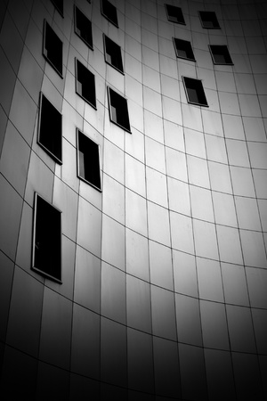 black and white photo of modern building photo