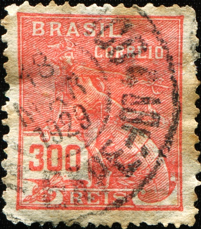 BRAZIL - CIRCA 1920: A stamp printed in Brazil shows God Mercury, circa 1920  photo