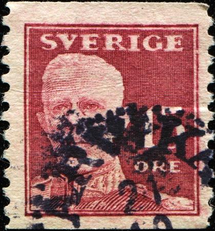 gustaf: SWEDEN - CIRCA 1920: stamp printed by Sweden, shows King Gustaf V, circa 1920 Stock Photo