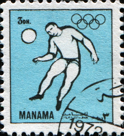 MANAMA - CIRCA 1972: A stamp printed in Manama (now part of Bahrain) shows soccer, circa 1972