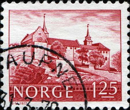 NORWAY-CIRCA 1977:A stamp printed in NORWAY shows image of Akershus Fortress or Akershus Castle is a medieval castle that was built to protect Oslo, the capital of Norway, circa 1977 photo