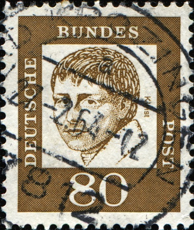 bundespost: FEDERAL REPUBLIC OF GERMANY - CIRCA 1991: A stamp printed in the Federal Republic of Germany shows  Heinrich von Kleist, the poet, series, circa 1961 Editorial