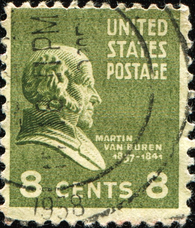 united states postal service: UNITED STATES OF AMERICA - CIRCA 1931: A stamp printed in the USA shows image of President Martin Van Buren, circa 1931