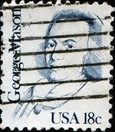 statesman: UNITED STATES OF AMERICA - CIRCA 1987: A stamp printed in the USA shows George Mason, circa 1987