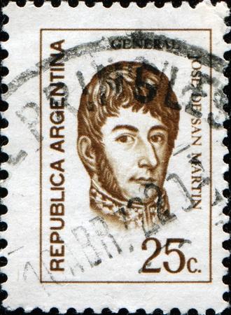 jose de san martin: ARGENTINA - CIRCA 1970: A stamp printed in the Argentina shows a national hero, Jose de San Martin, circa 1970
