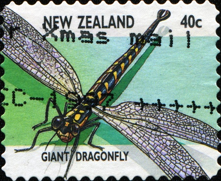 canceled: NEW ZEALAND - CIRCA 1970: A stamp printed in New Zealand shows Giant Dragonfly - Uropetala carovei, series, circa 1970