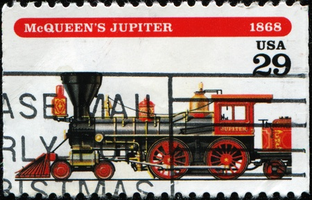 UNITED STATES OF AMERICA - CIRCA 1994: A stamp printed in USA shows the locomotive Jupiter, designed by Walter McQueen, circa 1994  photo