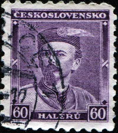 CZECHOSLOVAKIA - CIRCA 1933: A stamp printed in Czechoslovakia honoring Birth Centenary of Dr. Tyrs, founder of the Sokol, circa 1933 photo