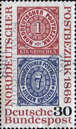 confederation: GERMANY - CIRCA 1968: A stamp printed in German Federal Republic  shows Cent of North German Postal Confederation and First Stamps, circa 1968
