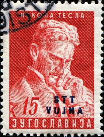 YUGOSLAVIA-CIRCA 1953: A stamp printed in Yugoslavia shows Nikola Tesla, circa 1953
