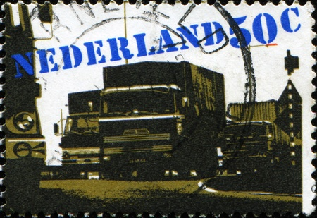 haulage: NETHERLANDS - CIRCA 1980: A stamp printed in Netherlands shows Road Haulage, circa 1980