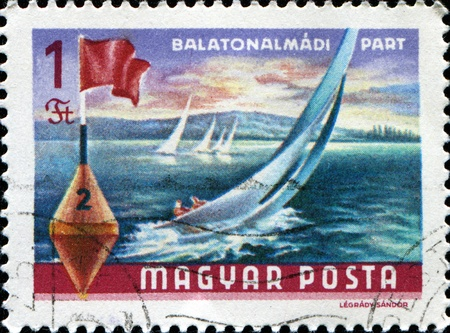 canceled: HUNGARY - CIRCA 1968: A stamp printed in Hungary shows Lake Balaton Resorts, Yachts and buoy, circa 1968