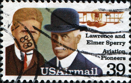 united states postal service: USA - CIRCA 1985: A stamp printed in USA shows Lawrence and Elmer Sperri, Aviation Pioneers, Great people of United States, a series of 15 stamps, circa 1985