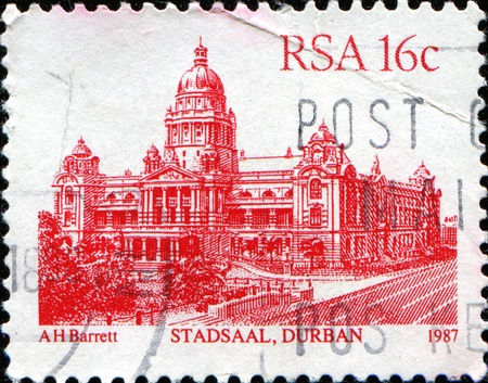 perforated stamp: SOUTH AFRICA - CIRCA 1982: A stamp printed in South Africa shows Stadsaal, Durban, series, circa 1982  Stock Photo