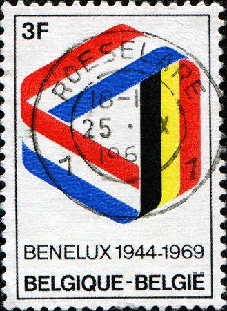benelux: BELGIUM - CIRCA 1969: Postage stamp published in Belgium commemorating 25 years of the Benelux (economic union of Belgium, Netherlands, Luxembourg), circa 1969