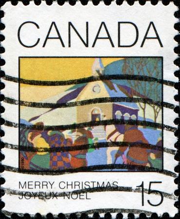CANADA - CIRCA 1980: A stamp printed in Canada shows Christmas Morning by Joseph Sydney Hallam, circa 1980  photo