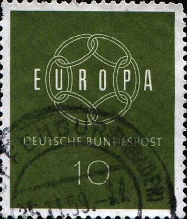 bundespost: FEDERAL REPUBLIC OF GERMANY - CIRCA 1959: A stamp printed in the Federal Republic of Germany shows Europa, circa 1959