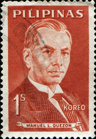 manuel: PHILIPPINES - CIRCA 1962: A stamp printed in Philippines shows  Manuel Luis  Quezon - served as president of the Commonwealth of the Philippines from 1935 to 1944, circa 1962