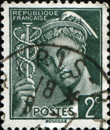 FRANCE - CIRCA 1938: A stamp printed in France shows Mercurius, circa 1938  photo