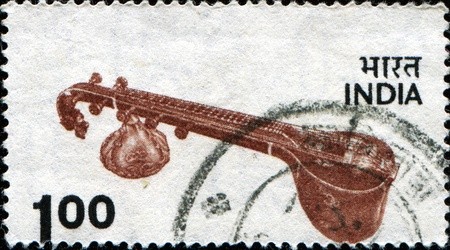 INDIA - CIRCA 1974: A stamp printed in India, shows Veena - plucked string instrument used in Hindustani classical music, circa 1974  Stock Photo - 11262270