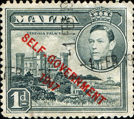MALTA - CIRCA 1947: A stamp printed in Malta shows Verdala Palace, circa 1947  Stock Photo - 11262209