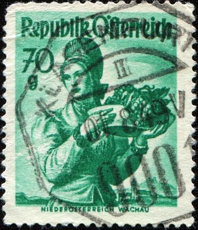 trachten: AUSTRIA - CIRCA 1949: A stamp printed in Austria, shows a woman in national dress,  Niederosterreich Wachau, circa 1949 Stock Photo