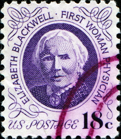 phisician: UNITED STATES OF AMERICA - CIRCA 1984: Stamp printed in USA showsElisabeth Blackwell - first woman phisician, circa 1984