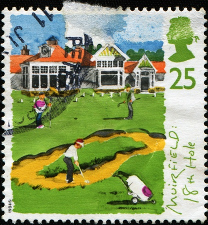 perforated stamp: GREAT BRITAIN - CIRCA 1994: A stamp printed in the Great Britain shows St. Andrews, old course, 250th anniversary of Honorable Company of Edinburgh Golfers, circa 1994  Stock Photo