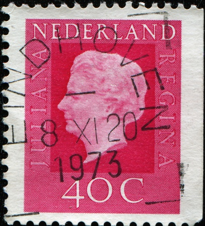 NETHERLANDS - CIRCA 1973: A stamp printed in the Netherlands shows image of Queen Juliana, series, circa 1973