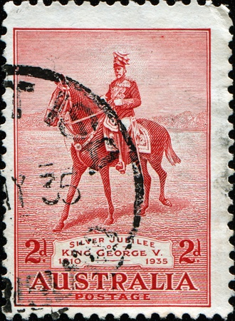 AUSTRALIA - CIRCA 1935: stamp printed by Australia shows King George V on Anzac, circa 1935