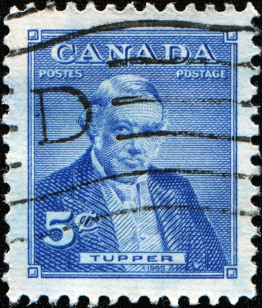 confederation: CANADA - CIRCA 1955: a stamp printed in  Canada shows Sir Charles Tupper  - Canadian father of Confederation, circa 1955